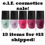 e.l.f. Cosmetics Sale: 13 items for $13 shipped!