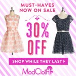 ModCloth 30% off sale and plus size fashions!