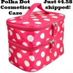 Pink Polka Dot Cosmetics Case only $4.58 shipped!