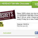 FREE Hershey's Chocolate bar!