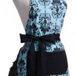 Flirty Aprons Aqua Damask Apron just $9.99 shipped!