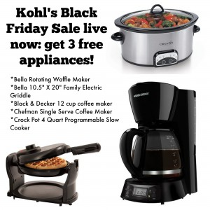 Three FREE Kitchen Appliances after Kohl s Cash & Rebates!