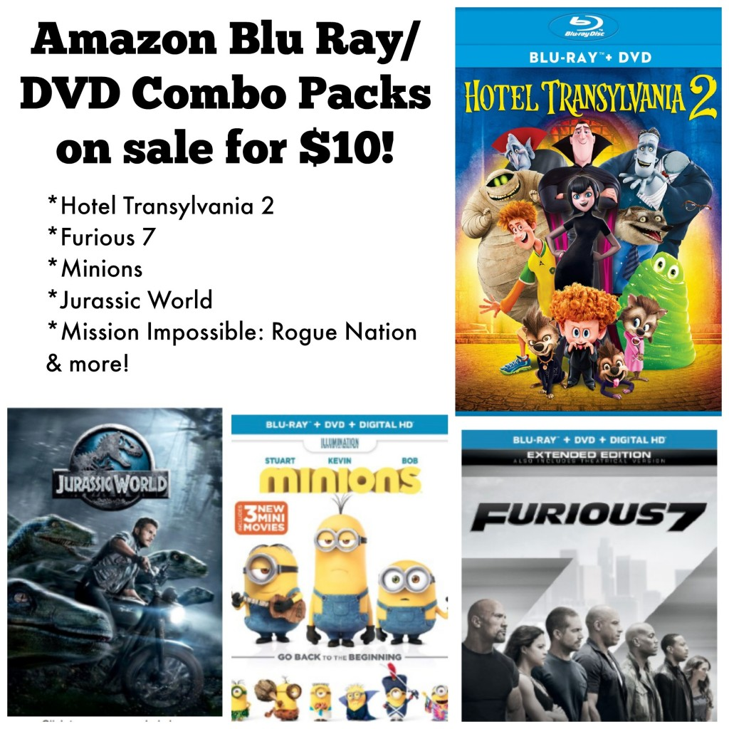 Minions And Other Blu Ray/DVD Combo Packs Only $10