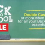 Get double cash back during the Back to School sale!