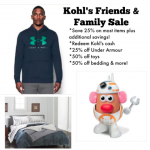 Kohl's Cash Redemption plus 25% off Friends & Family Sale!