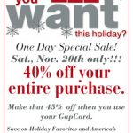 Save 40% off at Gap! (valid in stores only)