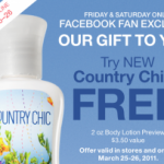 Bath and Body Works:  free Country Chic lotion!