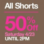 Gap:  50% off shorts + 40% off your entire purchase in stores!