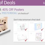 Walgreens photo deals:  40% off posters!