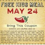 Chili's:  Kids eat free tonight!
