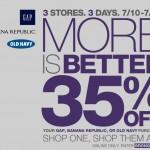 Gap, Old Navy, Banana Republic:  Save 35% off online + 10% cash back!