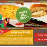 Chili's:   Kids Eat free + free chips & queso!