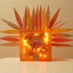 Thanksgiving Craft: Glass Block Turkey