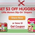 Printable Coupon Alert:  $3 off Huggies Little Movers Slip-Ons diapers printable coupon!