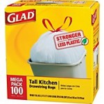 Glad Kitchen Trash Bags (100 ct) for $9.99! ($.10 each)
