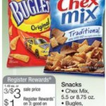 Bugles, Chex Mix, or Gardetto's just $.16 per bag after coupons!