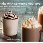 Starbucks BOGO free drinks through 2/14!