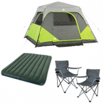 Ozark Trail Camping Bundle: tent, air mattress, and chairs for $89.97!