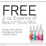 FREE 2 ounce Essence of Beauty Body Mist!