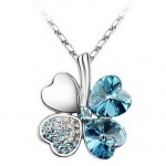 Crystal Four Leaf Clover Pendant Necklace only $1.19 shipped!