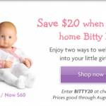 American Girl Bitty Baby on sale for $60!