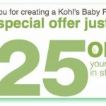FREE Kohl's $25 off coupon with Baby Registry!