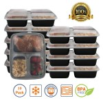 10 Pack 3 Compartment Meal Containers 52% off!