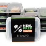 Meal Prep Haven Stackable 3 Compartment Food Containers with Lids on sale!